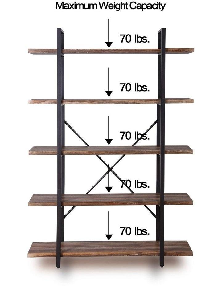 5 Tier Industrial Wood and Metal Bookshelves Retro Brown image 6