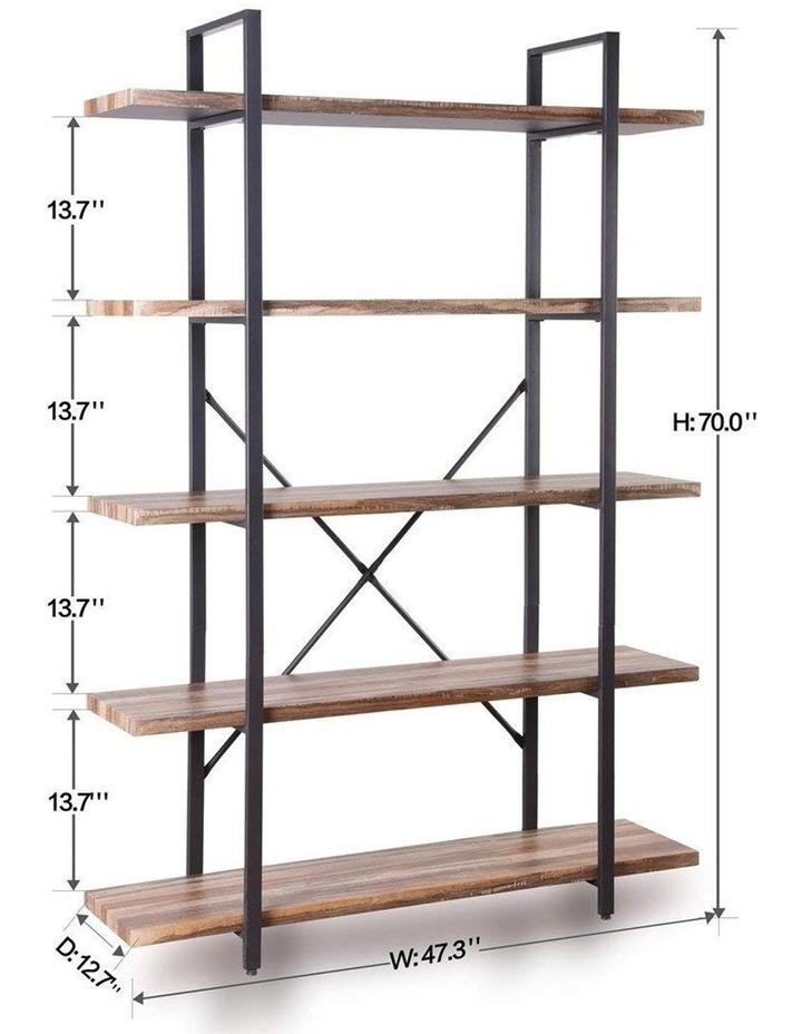 5 Tier Industrial Wood and Metal Bookshelves Retro Brown image 7