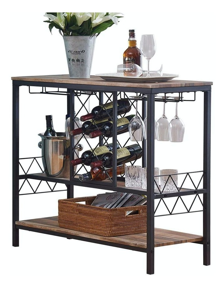 Industrial Wine Rack Table with Glass Holder Brown image 1