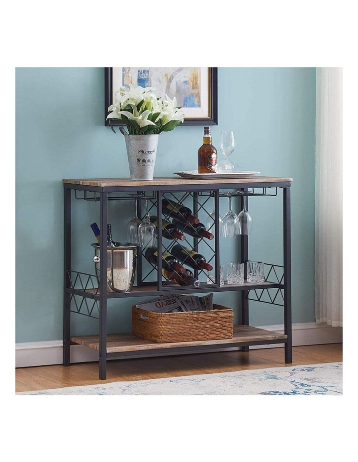 Industrial Wine Rack Table with Glass Holder Brown image 2