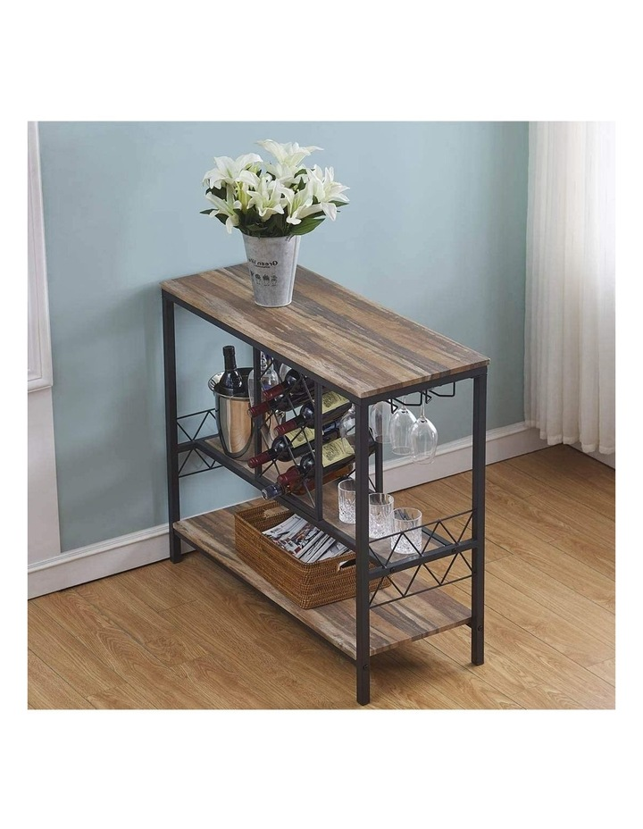 Industrial Wine Rack Table with Glass Holder Brown image 5