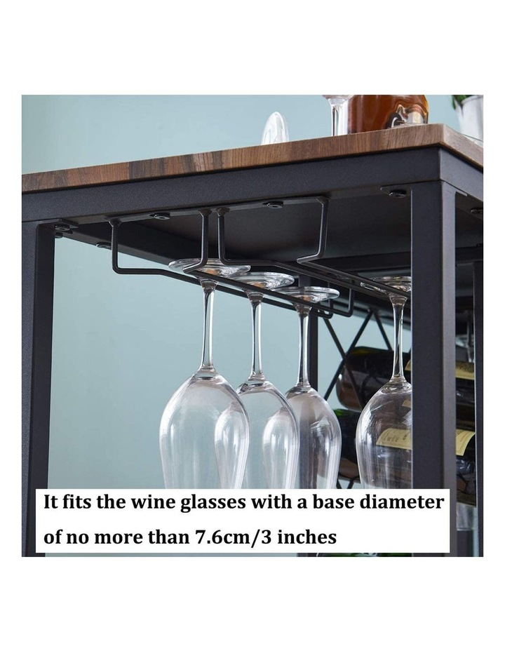 Industrial Wine Rack Table with Glass Holder Brown image 6