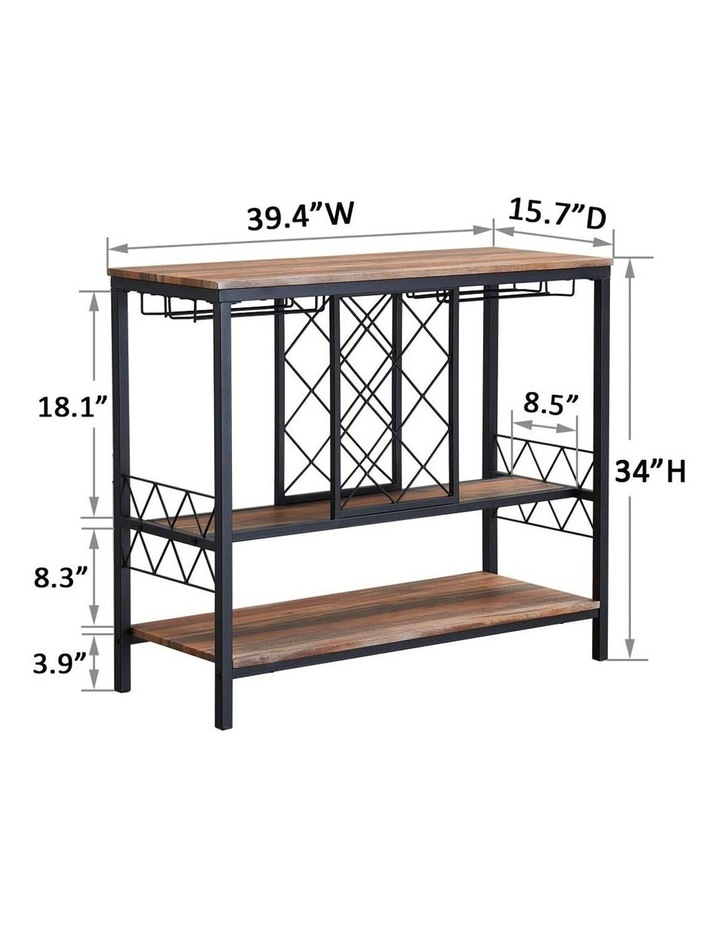 Industrial Wine Rack Table with Glass Holder Brown image 7
