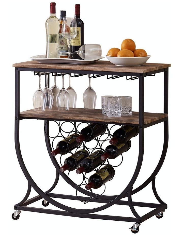 Industrial Wine Rack Cart with Glass Holder Vintage Brown image 1