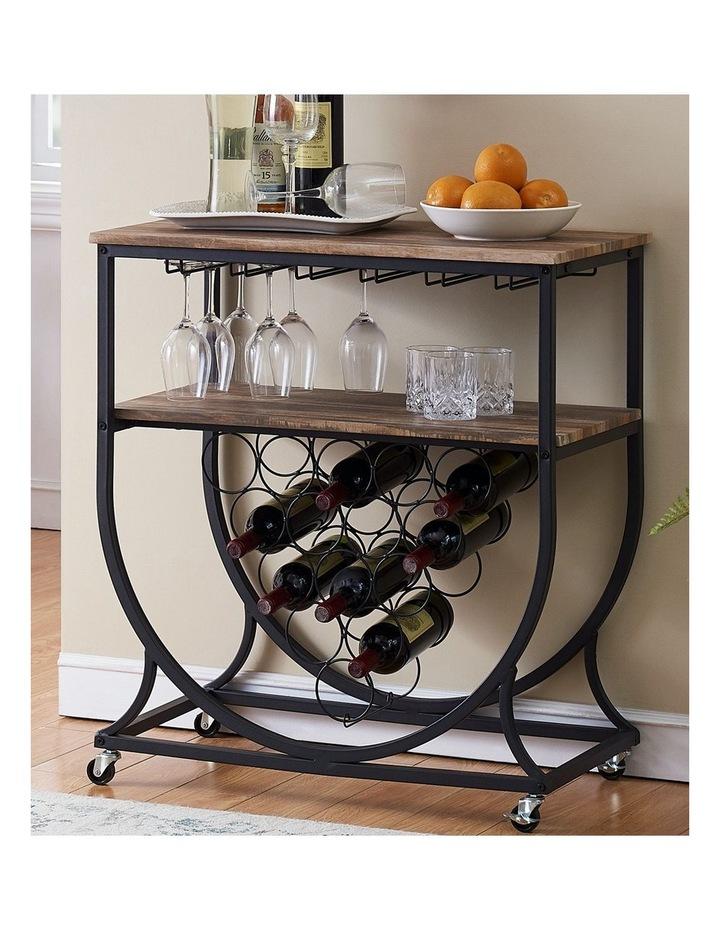 Industrial Wine Rack Cart with Glass Holder Vintage Brown image 2