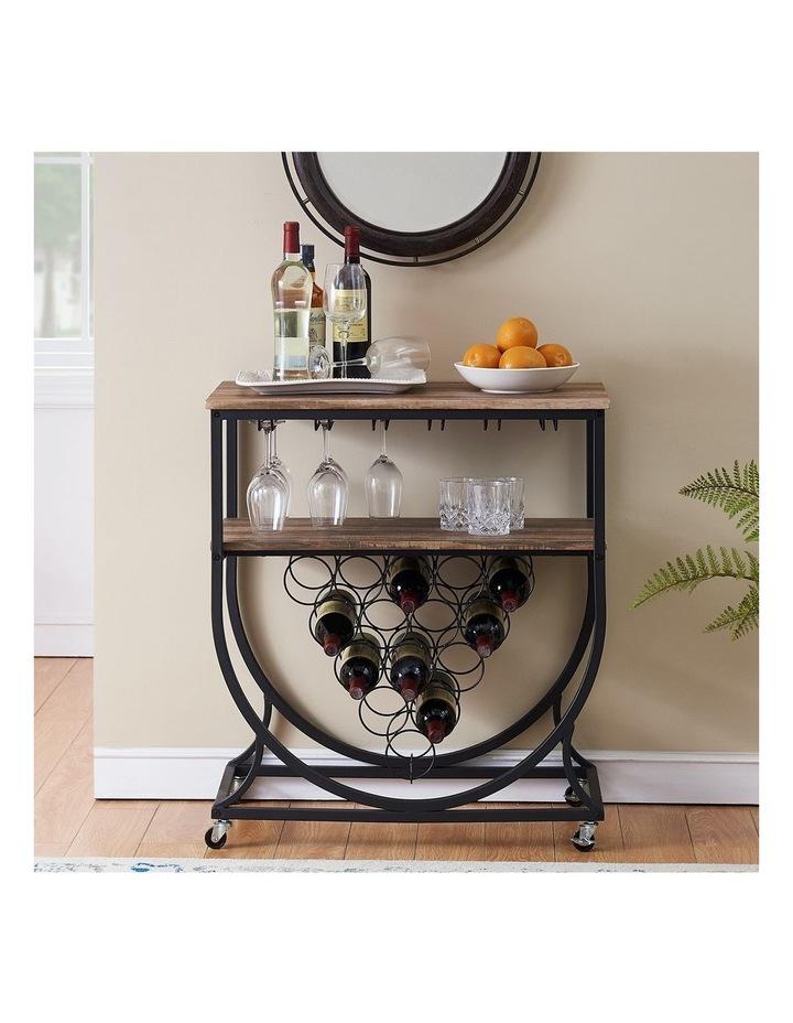 Industrial Wine Rack Cart with Glass Holder Vintage Brown image 3