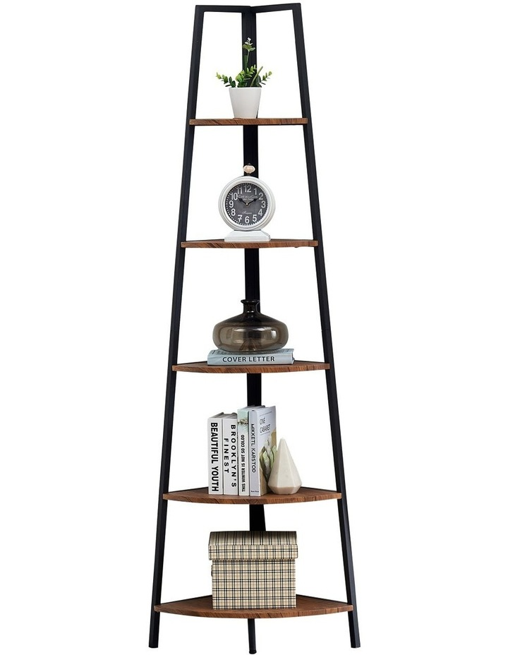 5 Tier A-Shaped Industrial Corner Shelves Bookcase Retro Brown image 1