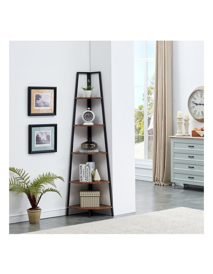 5 Tier A-Shaped Industrial Corner Shelves Bookcase Retro Brown image 2