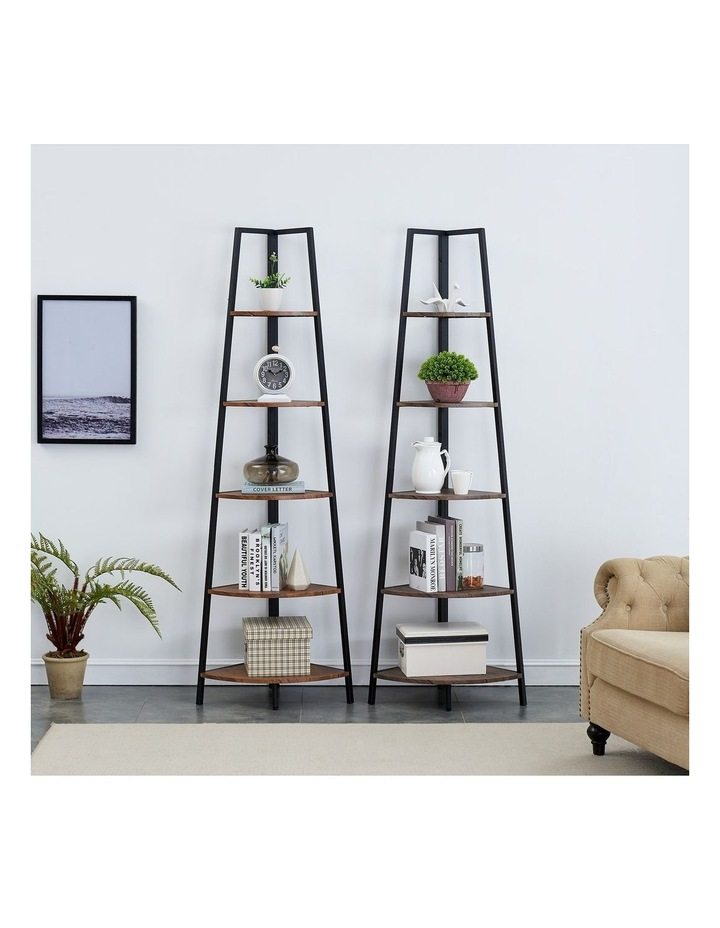 5 Tier A-Shaped Industrial Corner Shelves Bookcase Retro Brown image 3