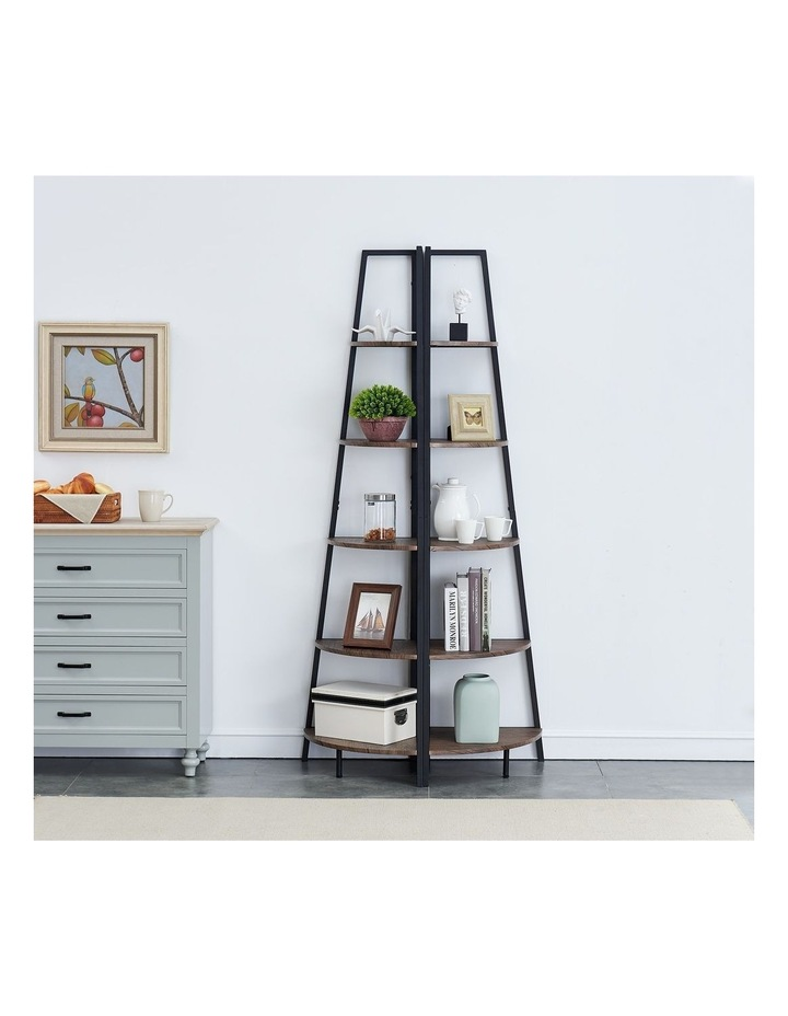 5 Tier A-Shaped Industrial Corner Shelves Bookcase Retro Brown image 4
