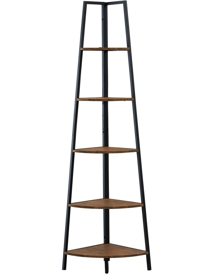 5 Tier A-Shaped Industrial Corner Shelves Bookcase Retro Brown image 5