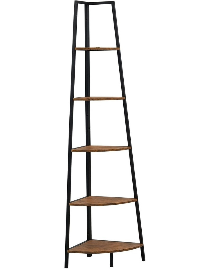 5 Tier A-Shaped Industrial Corner Shelves Bookcase Retro Brown image 6