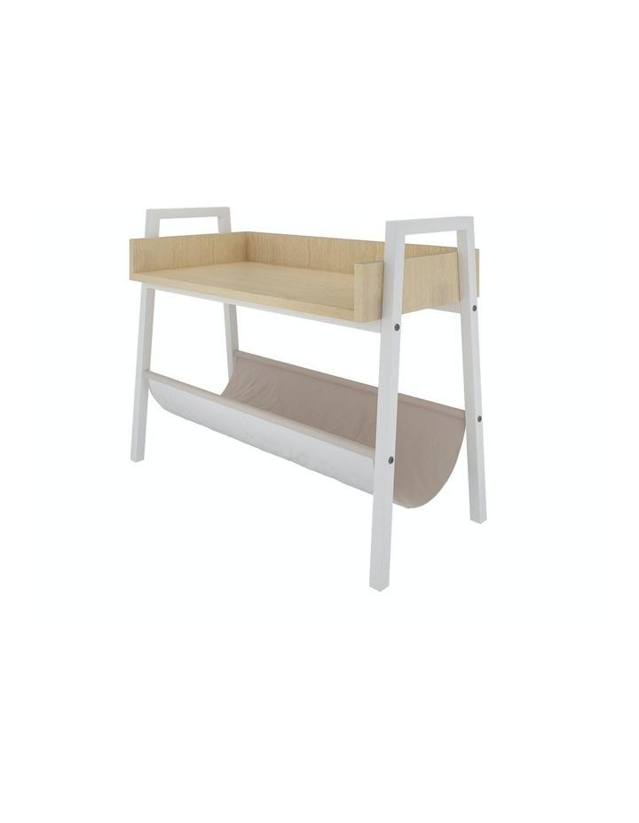 Mordern Narrow End Table and Wood Magazine Storage Shelf White Oak image 1