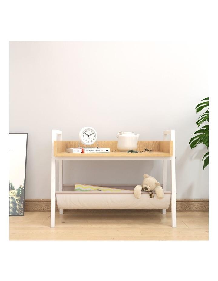 Mordern Narrow End Table and Wood Magazine Storage Shelf White Oak image 2