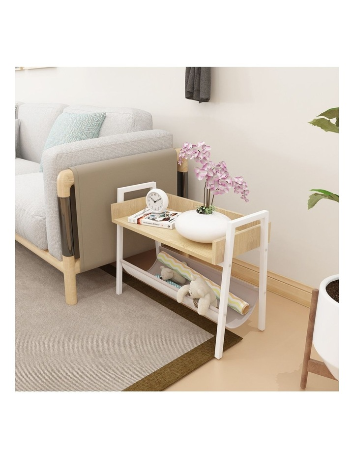 Mordern Narrow End Table and Wood Magazine Storage Shelf White Oak image 4