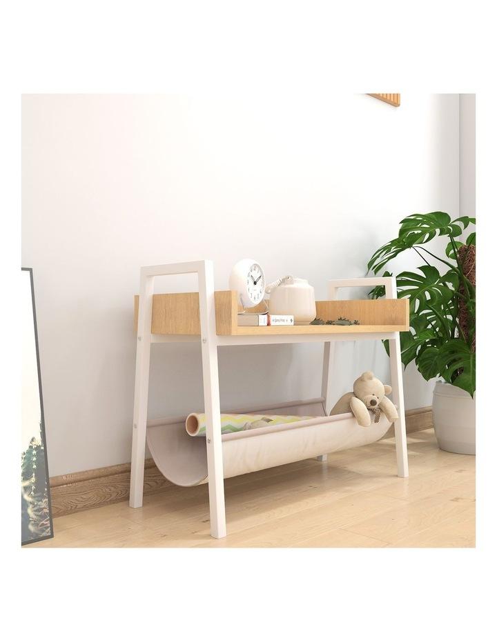 Mordern Narrow End Table and Wood Magazine Storage Shelf White Oak image 5