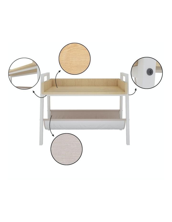 Mordern Narrow End Table and Wood Magazine Storage Shelf White Oak image 6