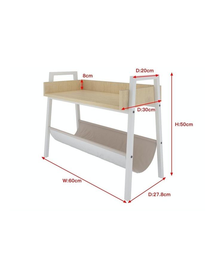 Mordern Narrow End Table and Wood Magazine Storage Shelf White Oak image 7