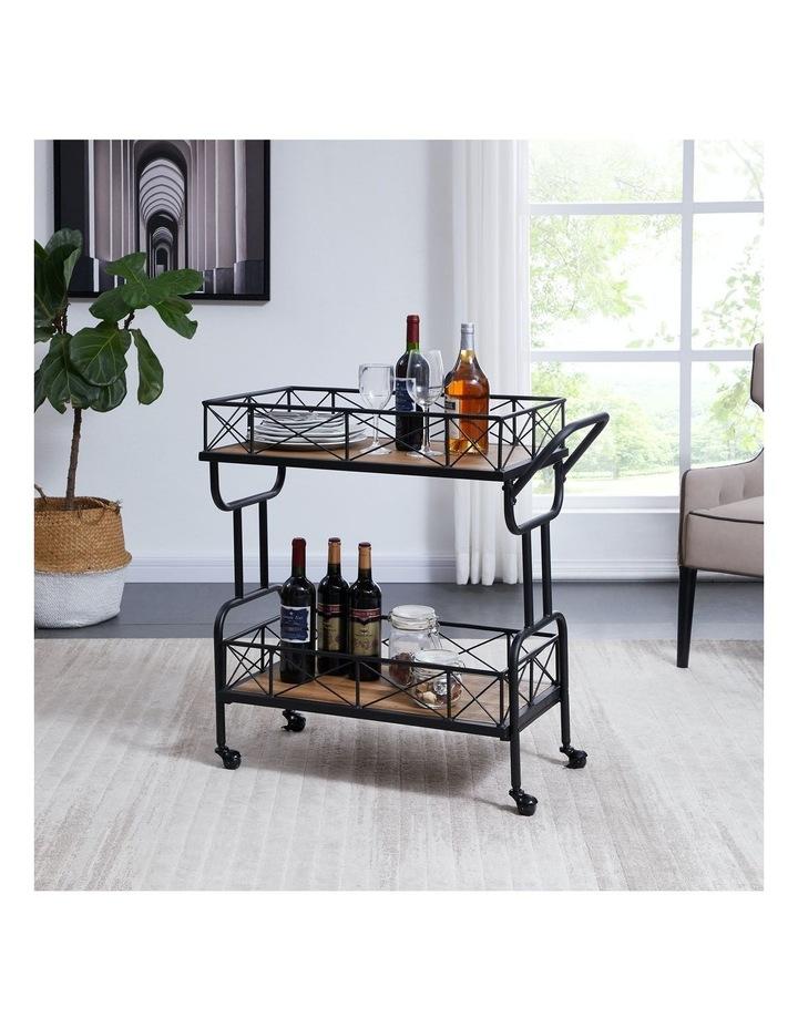 Drink Trolley Wood and Metal Bar Carts Vintage Brown image 2