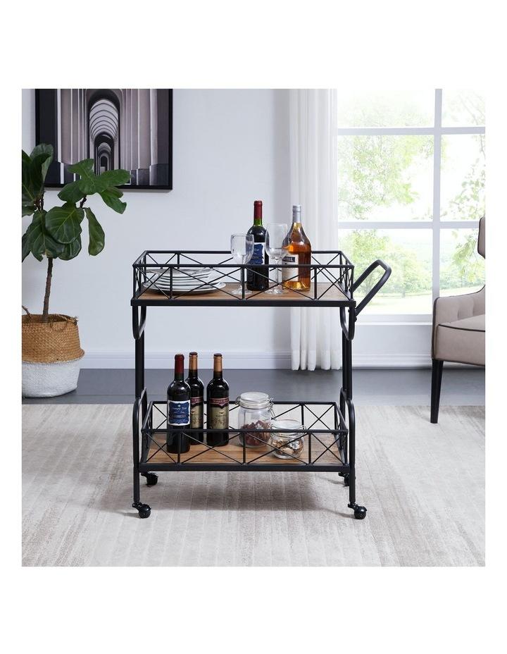 Drink Trolley Wood and Metal Bar Carts Vintage Brown image 3