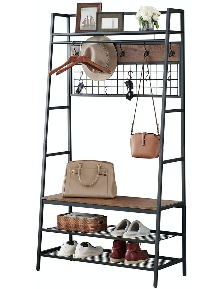 5-In-1 Hall Tree with Storage Bench & Hooks Brown image 1