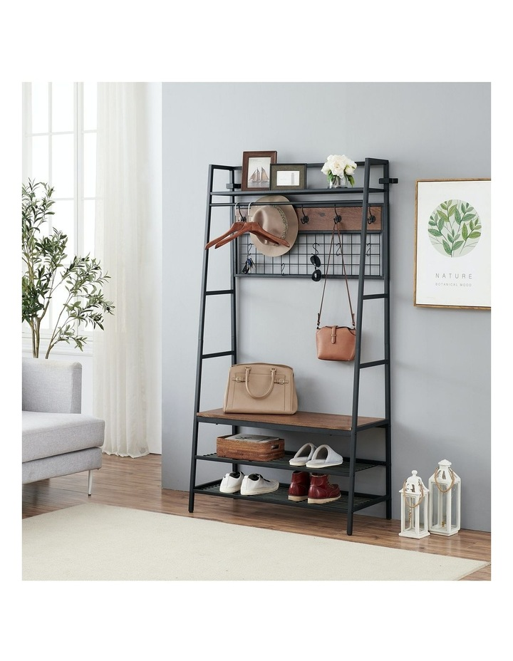5-In-1 Hall Tree with Storage Bench & Hooks Brown image 2
