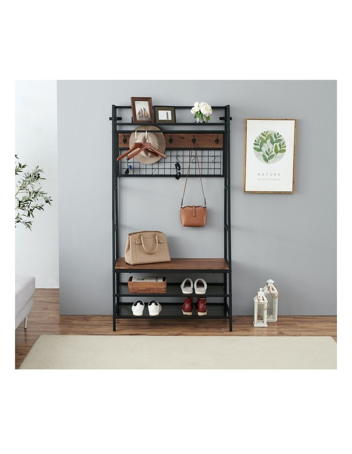 5-In-1 Hall Tree with Storage Bench & Hooks Brown image 3