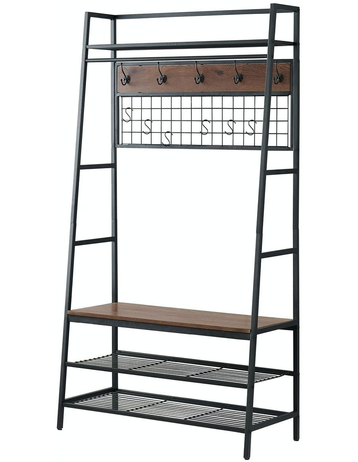 5-In-1 Hall Tree with Storage Bench & Hooks Brown image 5