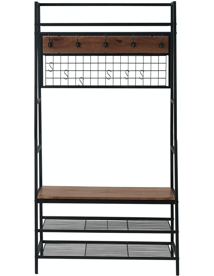 5-In-1 Hall Tree with Storage Bench & Hooks Brown image 6