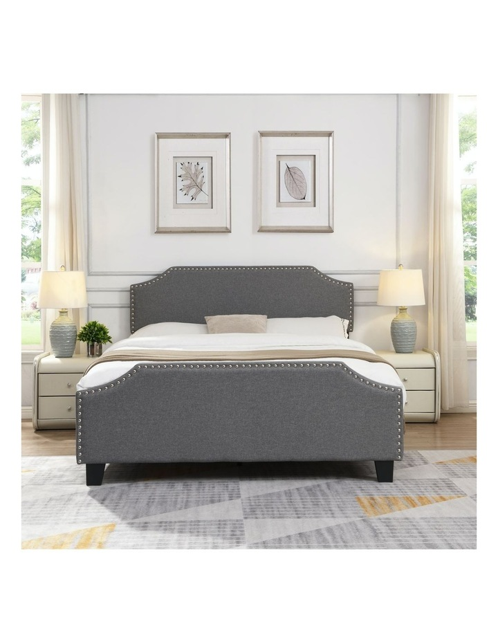 BEF03 Queen Size Wooden Upholstered Bed Frame Grey image 2
