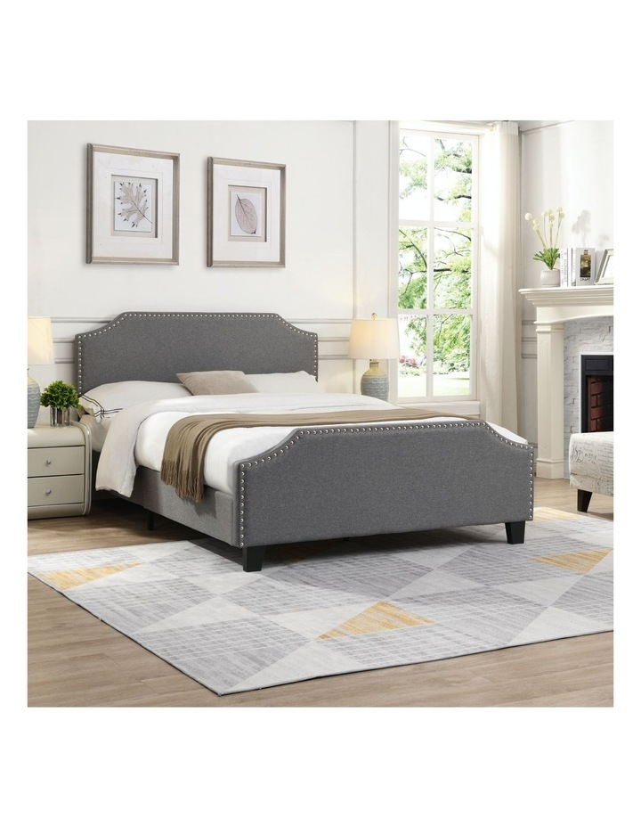 BEF03 Queen Size Wooden Upholstered Bed Frame Grey image 3