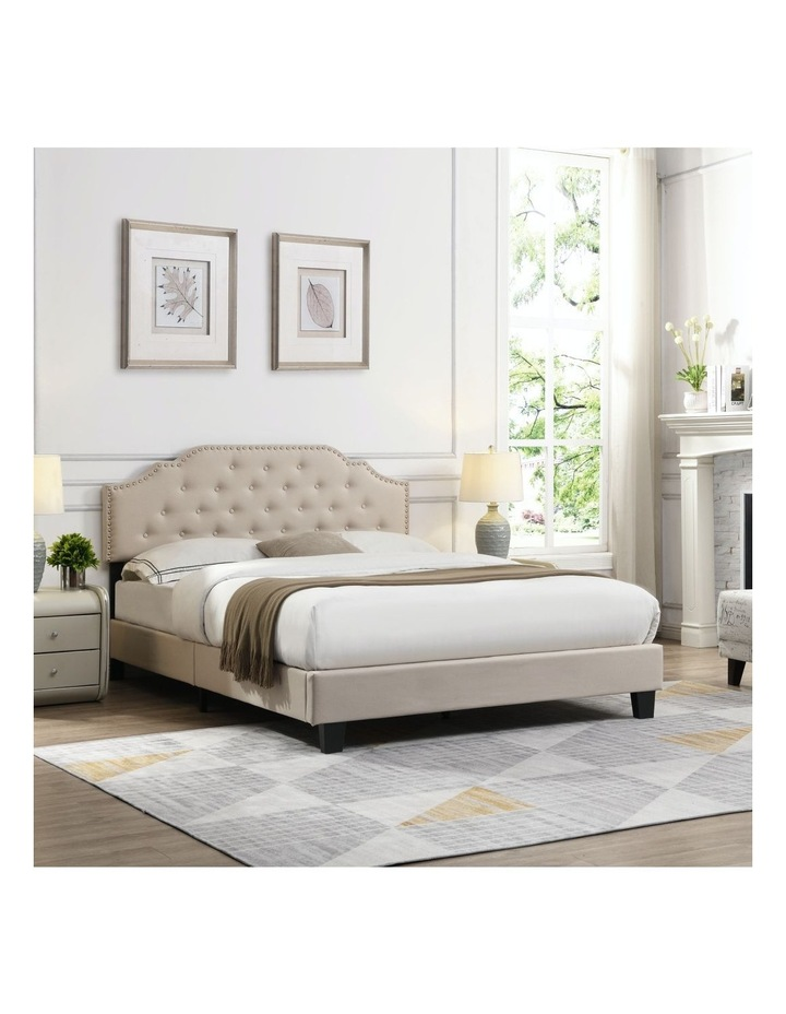 BEF02 Queen Size Bed Frame Base Mattress Platform Beig image 3
