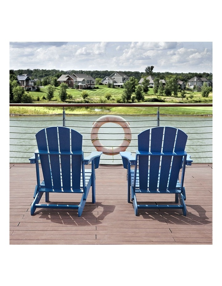 Folding & Painted Outdoor Adirondack Chair Weather Resistant Navy Blue image 4