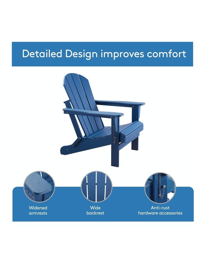 Folding & Painted Outdoor Adirondack Chair Weather Resistant Navy Blue image 7
