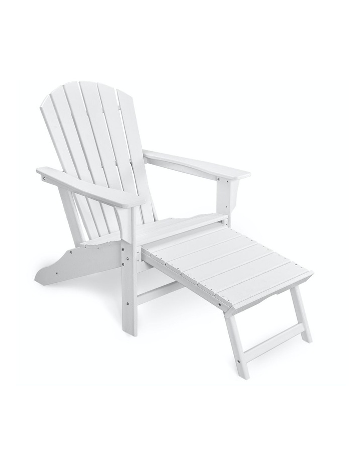 EHOMMATE HDPE Outdoor Adirondack Chair with Footrest White image 1