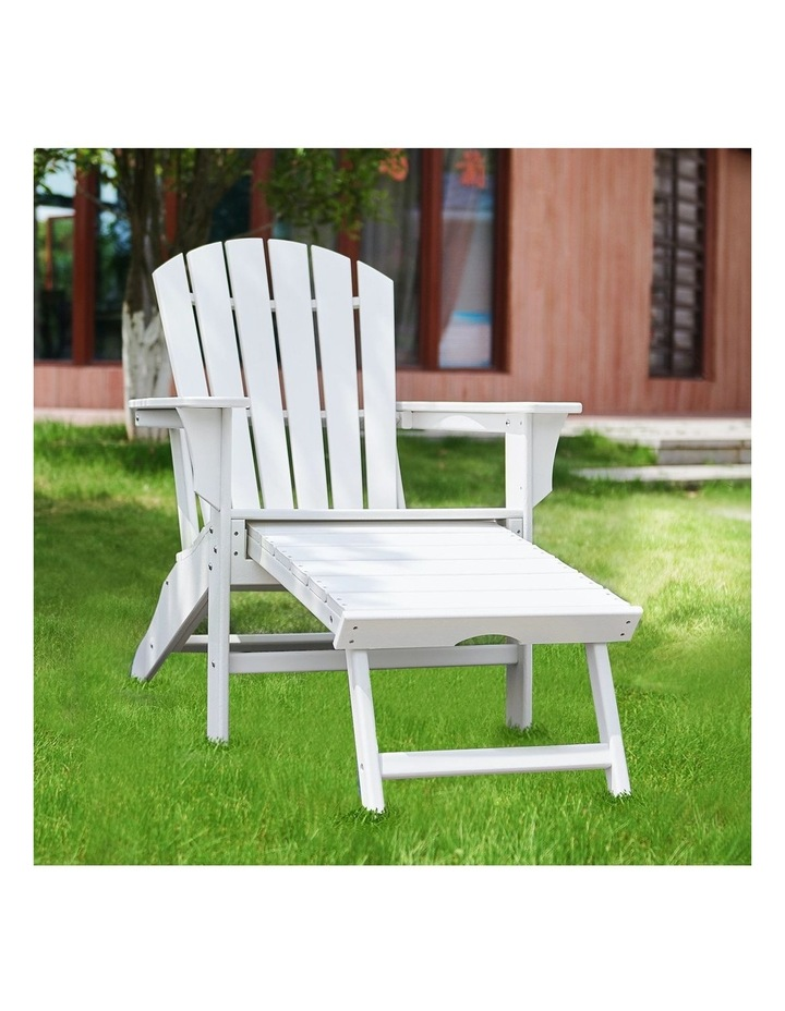 EHOMMATE HDPE Outdoor Adirondack Chair with Footrest White image 2