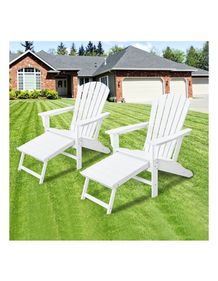 EHOMMATE HDPE Outdoor Adirondack Chair with Footrest White image 3