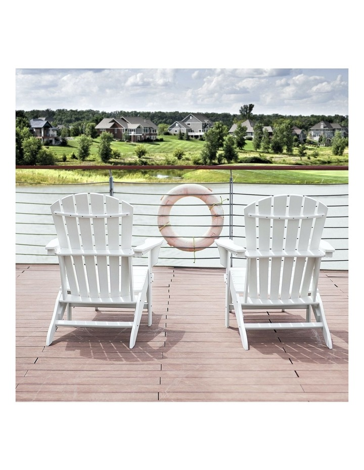 EHOMMATE HDPE Outdoor Adirondack Chair with Footrest White image 4