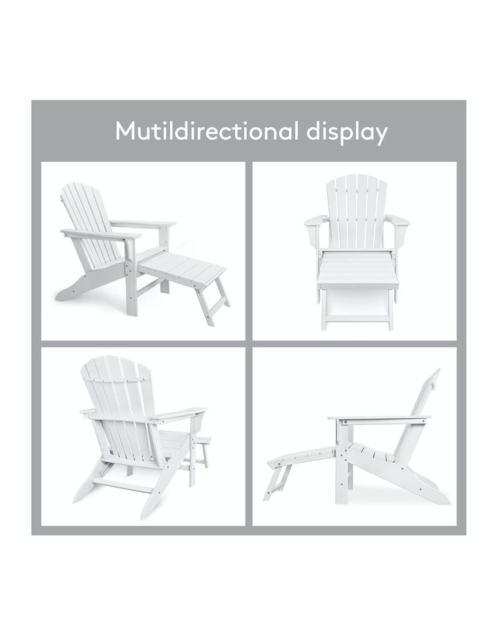 EHOMMATE HDPE Outdoor Adirondack Chair with Footrest White image 6