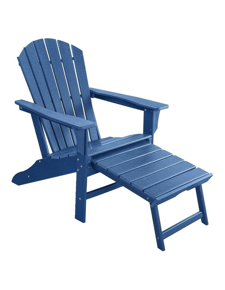 Outdoor Adirondack Chair with Footrest Navy Blue image 1