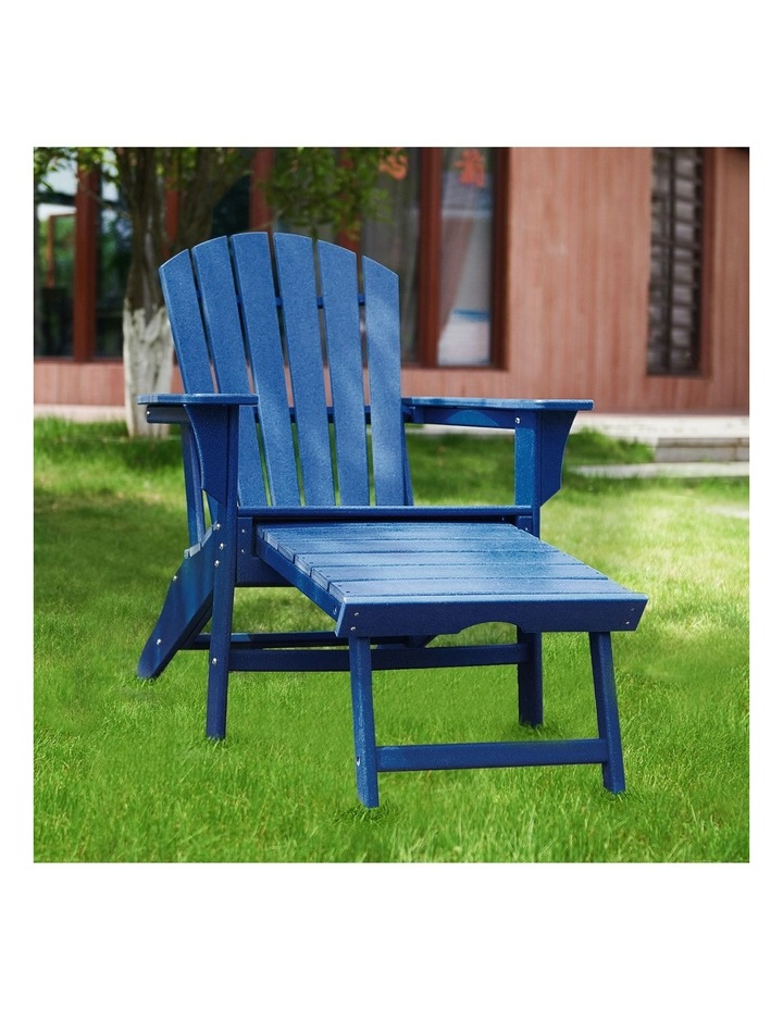 Outdoor Adirondack Chair with Footrest Navy Blue image 2