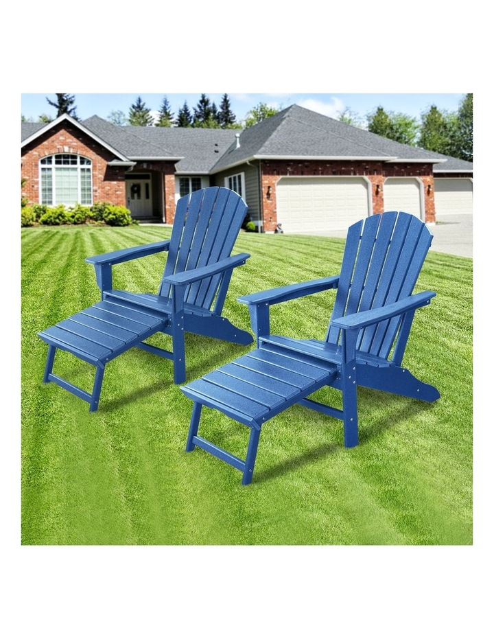 Outdoor Adirondack Chair with Footrest Navy Blue image 3