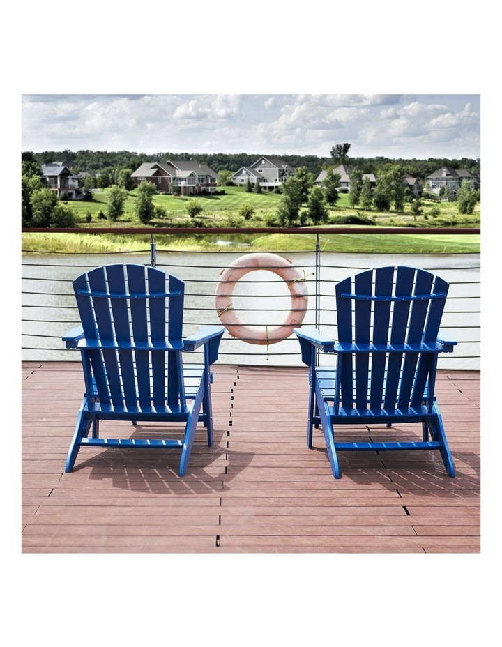 Outdoor Adirondack Chair with Footrest Navy Blue image 4