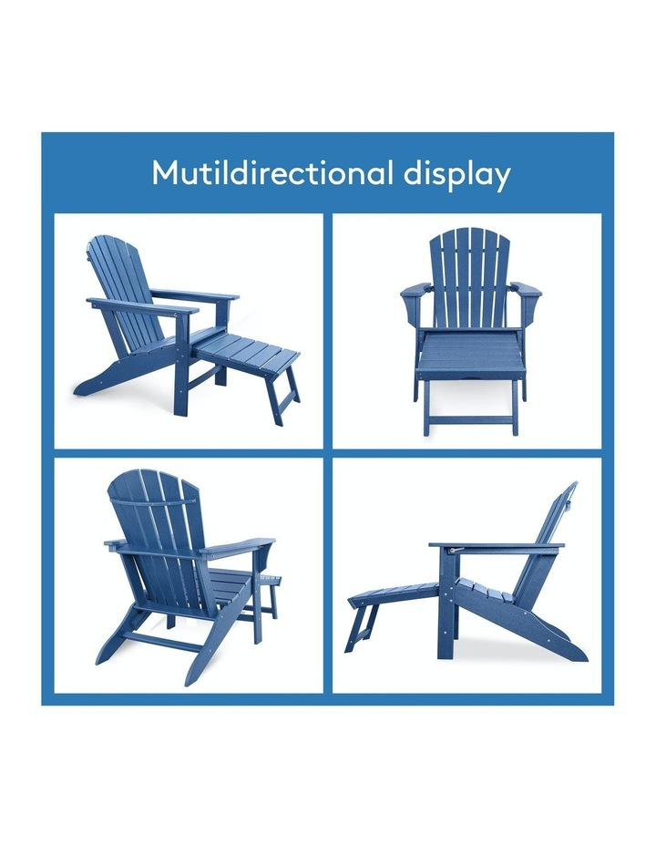 Outdoor Adirondack Chair with Footrest Navy Blue image 6
