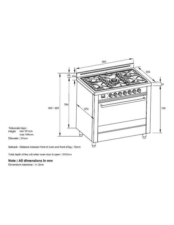109L Stainless Steel Dual Fuel Oven 5 gas burners OFS9020 image 5