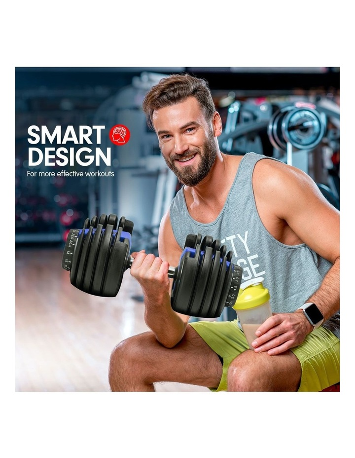 Powertrain 1x 24kg Adjustable Dumbbell Home Gym Exercise Weights Blue image 5