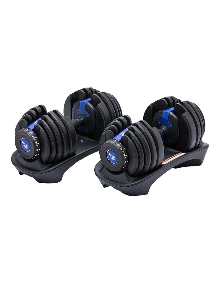 Powertrain 48kg Adjustable Dumbbell Set Home Gym Exercise Equipment Weights Blue image 1
