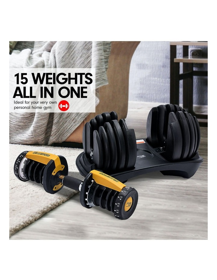 Powertrain 48kg Adjustable Dumbbell Set W/ Stand Home Gym Weights Gold image 2