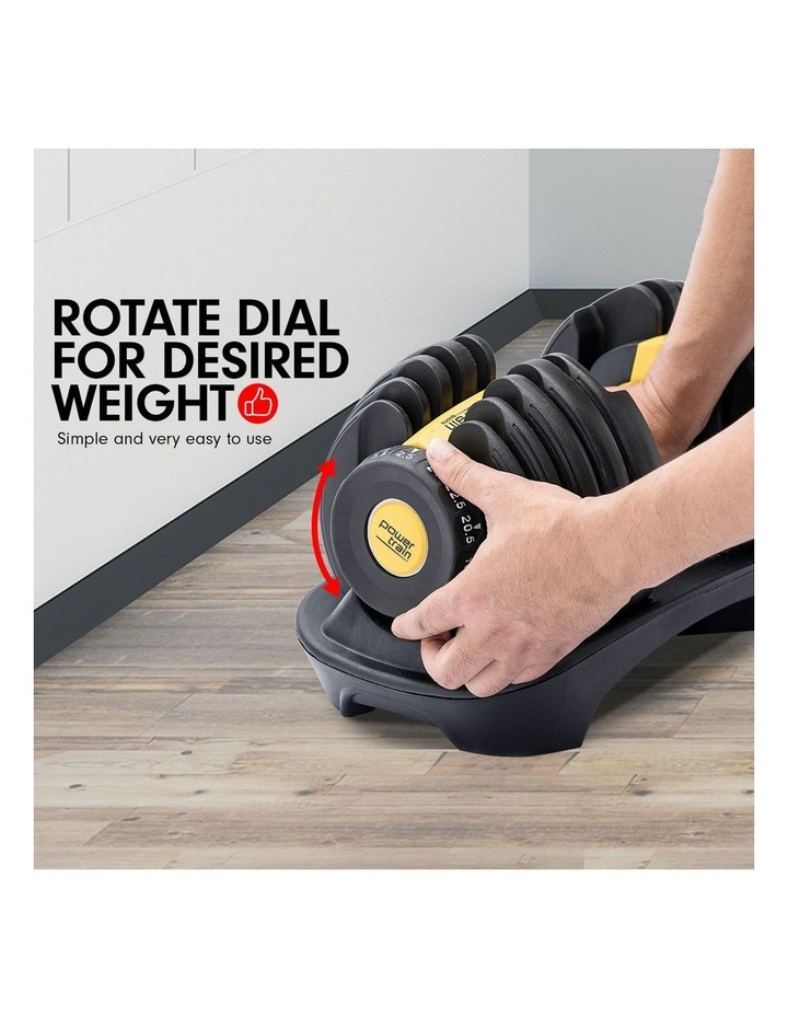 Powertrain 48kg Adjustable Dumbbell Set W/ Stand Home Gym Weights Gold image 3