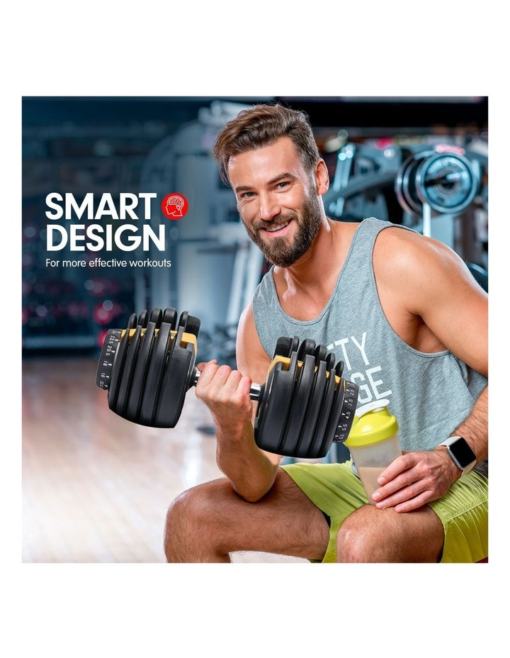 Powertrain 48kg Adjustable Dumbbell Set W/ Stand Home Gym Weights Gold image 5